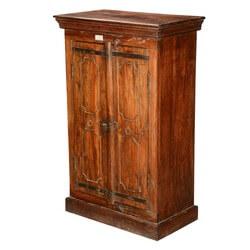 Pennsylvania German Reclaimed Wood Tall Double Door Storage Cabinet