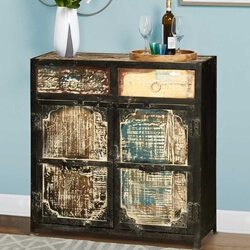 Creston Rustic Reclaimed Wood 2 Drawer Industrial Buffet Cabinet