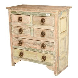 Frosted White Reclaimed Wood 6 Drawer Standard Vertical Chest