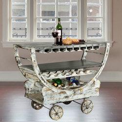 Rustic Mango Wood Industrial Rolling Wine Bar Cart w Glass Stem Rack