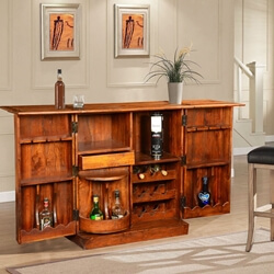 Double Diamond Solid Wood & Brass Expandable Wine Bar Liquor Cabinet