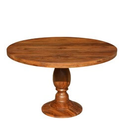 "Rustic Colonial American Solid Wood 48"" Round Pedestal Dining Table"