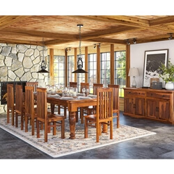 Clermont Rustic Solid Wood 14 Piece Large Dining Room Set
