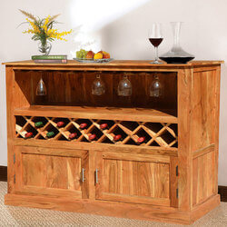 Modern Rustic Acacia Wood Wine Bar Cabinet w Glass Stem Rack