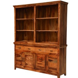 Mancusi Modern Country Breakfront Rustic Solid Wood Dining Room Hutch