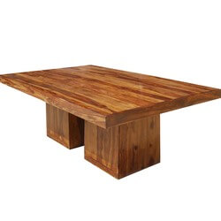 Large Rustic Solid Wood Double Pedestal Rectangular Dining Table
