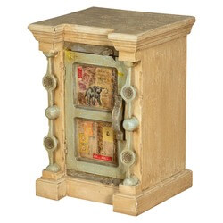 Pop Art Paris Mango Wood Rustic Nightstand Cabinet