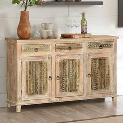 Huron Modern Mosaic Rustic Mango Wood 3 Drawer Sideboard Cabinet