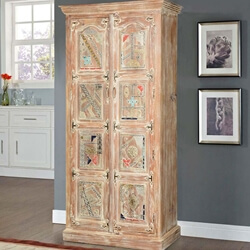 Modern Mosaic Mango Wood Freestanding Rustic Armoire