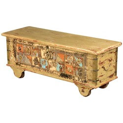 Rustic Patches Mango Wood Rolling Coffee Table Chest