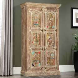 Distressed Brass Inlay Solid Mango Wood Tall Storage Cabinet Armoire