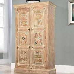 Winter White Brass Bejeweled Accent Solid Mango Wood Armoire Cabinet