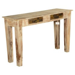 Modern Mosaic Winter White Mango Wood Hall Console Table