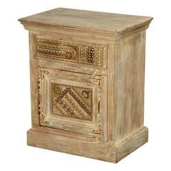 Modern Mosaic Mango Wood Nightstand Mini Cabinet