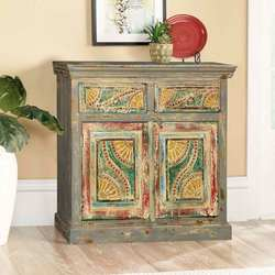 Van Gogh Swirls Mango Wood Double Door 2 Drawer Buffet Cabinet