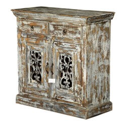 Shadow Forest Mango Wood Iron Grille Door 2 Drawer Storage Cabinet