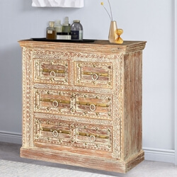 Gothic Winter Distressed Solid Mango Wood Moroccan Small Dresser