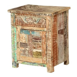 Wooden Patches Mango Wood Rustic Nightstand Mini Cabinet