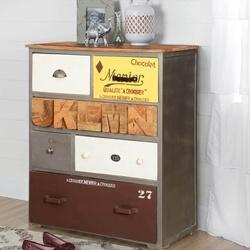 Chocolat Pop Art Mango Wood 6 Drawer Industrial Dresser