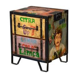Soda Pop Art Mango Wood & Iron 2-Drawer File Cabinet Nightstand