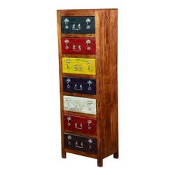 Primary Multi Colors Solid Wood 7 Drawer Tall Dresser