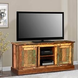 Pioneer Rustic Reclaimed Wood Open Shelf Media TV Stand Cabinet