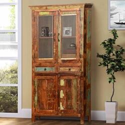 Dunbar Rustic Reclaimed Wood Glass Door 2 Drawer Display Cabinet