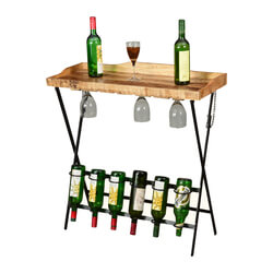 Elkton Solid Wood Folding Industrial Wine Bar Table