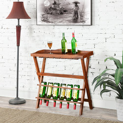 Portable Party Deluxe Solid Wood Folding Wine Bar Table