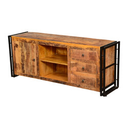 Farmingdale Pioneer Rustic Mango Wood TV Stand Media Console Cabinet
