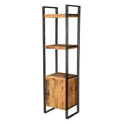 "Pioneer Rustic Mango Wood & Black Iron 71.5"" Wall Tower w Cabinet"