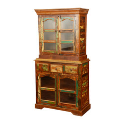 Pioneer Rustic Reclaimed Wood Glass Breakfront Buffet With Hutch