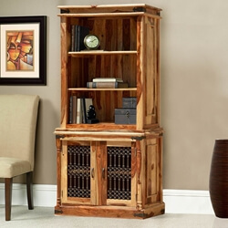 Shreveport 3 Open Shelf Rustic Solid Wood Office Bookcase Hutch