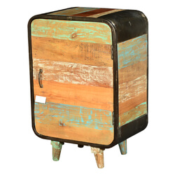 Retro Rainbow Reclaimed Wood & Iron Nightstand End Table Cabinet