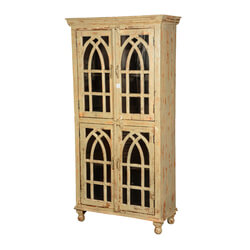 Queen Anne Distressed Mango Wood Winter White Rustic Armoire