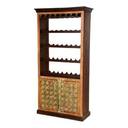 Lodi Golden Diamonds Brass Inlay Mango Wood Tall Wine Rack Cabinet