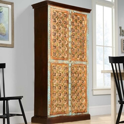 Turkish Splendor Mango Wood Armoire Wardrobe Cabinet