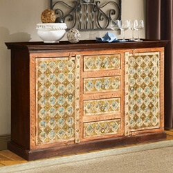 Turkish Handcrafted Brass Inlay Mango Wood 4 Drawer Large Sideboard