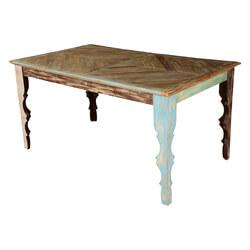 Rustic Parquet Diamond Mango Wood Dining Table