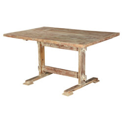 "Pioneer Rustic Mango Wood 55"" Trestle Kitchen Dining Table"