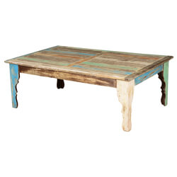 "Rustic Parisian Mango Wood 51"" Coffee Table w V Shaped Legs"