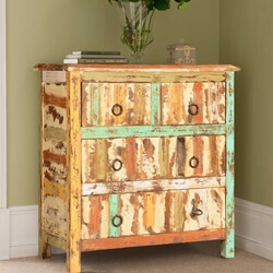 Rustic Stripes Mango Wood Standing 4 Drawer Standard Vertical Chest