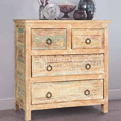 Topeka Rustic Colors Mango Wood Standing 5 Drawer Dresser Chest
