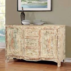 Adairville Distressed Mango Wood 3 Drawer Rustic Sideboard Cabinet