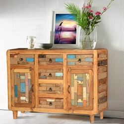 Mondrian Handcrafted 6 Drawer Rustic Reclaimed Wood Sideboard