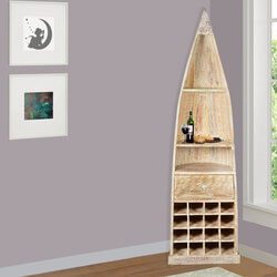 Thurmont Distressed Reclaimed Wood Standing Canoe Wine Rack Cabinet