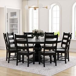 Nottingham Rustic Solid Wood Black Round Dining Room Table Set