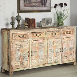 Primitive Carvings Distressed Mango Wood 4 Drawer Large Sideboard