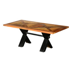 Taunton Reclaimed Wood Double X Iron Leg Picnic Trestle Coffee Table