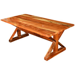 "Rustic X Legs Acacia Wood 78.5"" Picnic Style Trestle Dining Table"